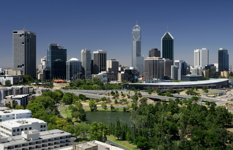 Perth cityscape. A view of the city of Perth - Western Australia