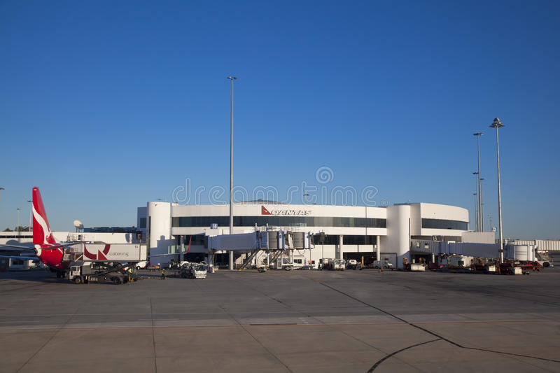 Perth Domestic Airport. Scene of the Perth Domestic airport with Qantas plane at gate stock photos