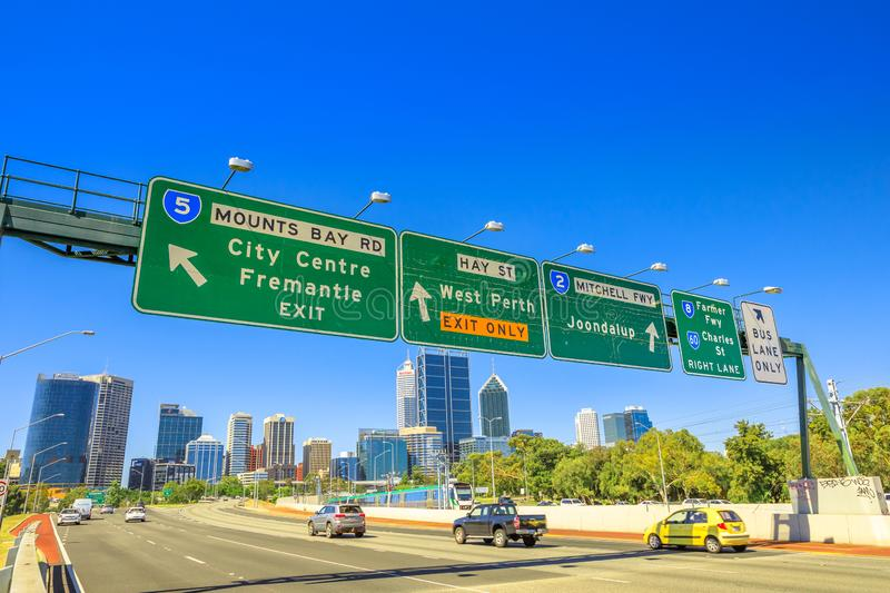 Perth Highway Sign royalty free stock photos