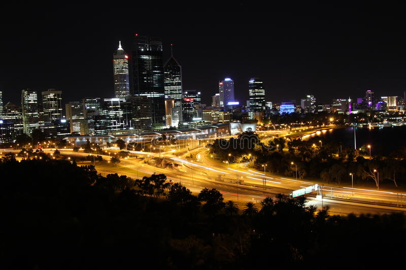 Download Perth at night stock image. Image of places, city, financial - 23995093