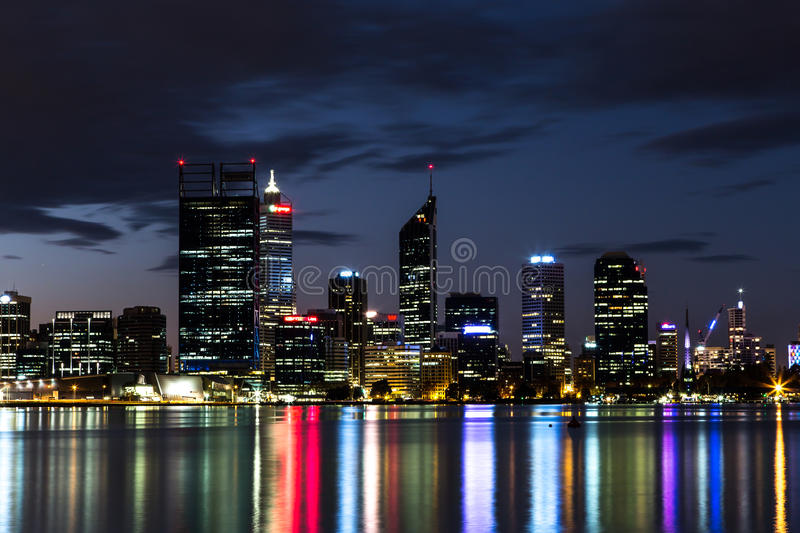 Perth Night Skyline. Perth CBD skyline as seen from across the Swan River royalty free stock image