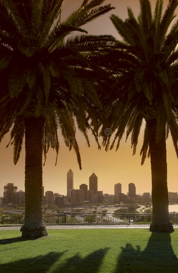 Perth Skyline - Australia. Morning sunlight on the skyline of the city of Perth in Western Australia stock photography