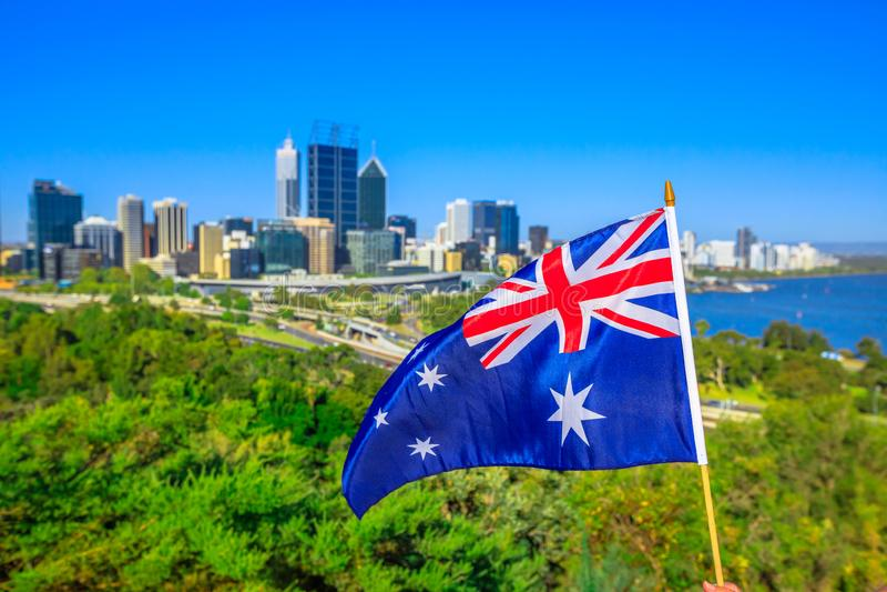 Perth skyline with Australian Flag stock photo