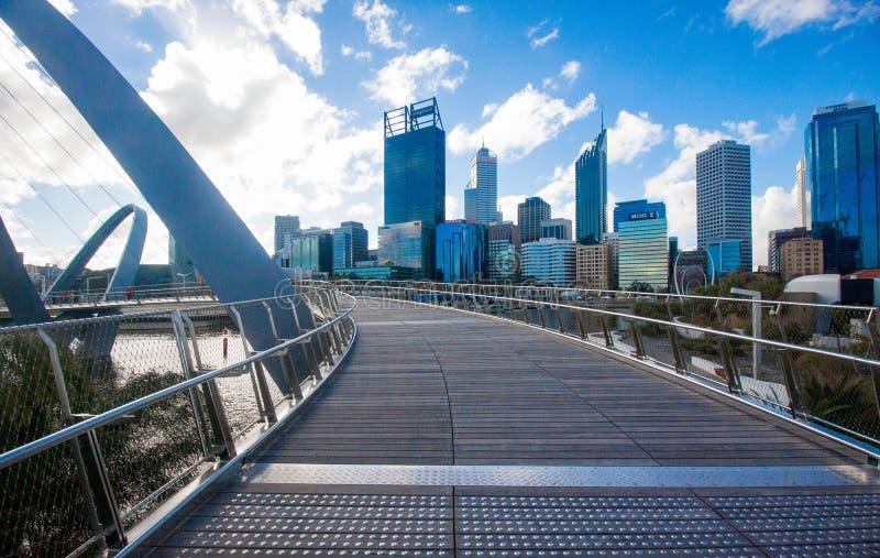 Perth skyline from Elizabeth Quay Bridge stock images