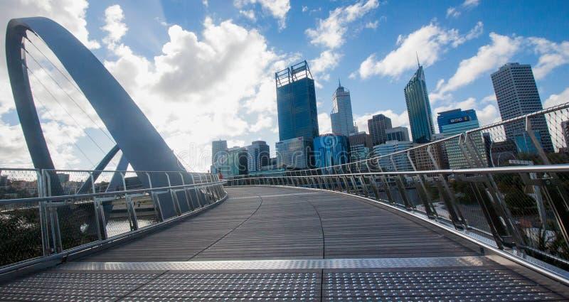 Perth skyline from Elizabeth Quay Bridge stock photo