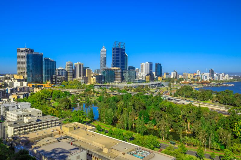 Perth skyline from Kings Park. Kings Park overlooking Perth Water, a section of Swan River, and central business district of Perth from the most popular visitor stock image