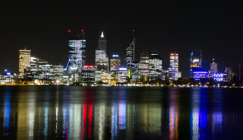 Perth skyline at night royalty free stock images
