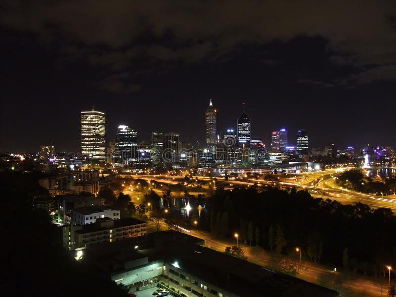 Perth Skyline. At night in Western Australia royalty free stock image
