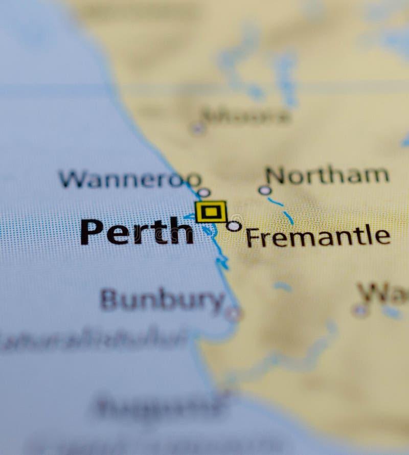 Perth sulla mappa immagine stock libera da diritti