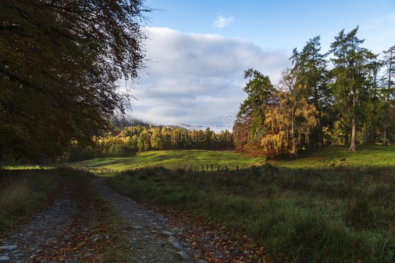 Perthshire autumn. A misty autumnal image of the countryside of Perth and Kinross, Scotland. 18 October 2018 stock photography