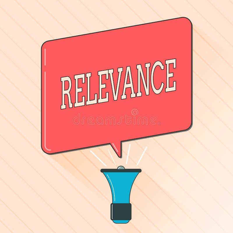 Pertinence des textes d'écriture de Word Concept d'affaires pour être l'information importante appropriée étroitement reliée illustration libre de droits