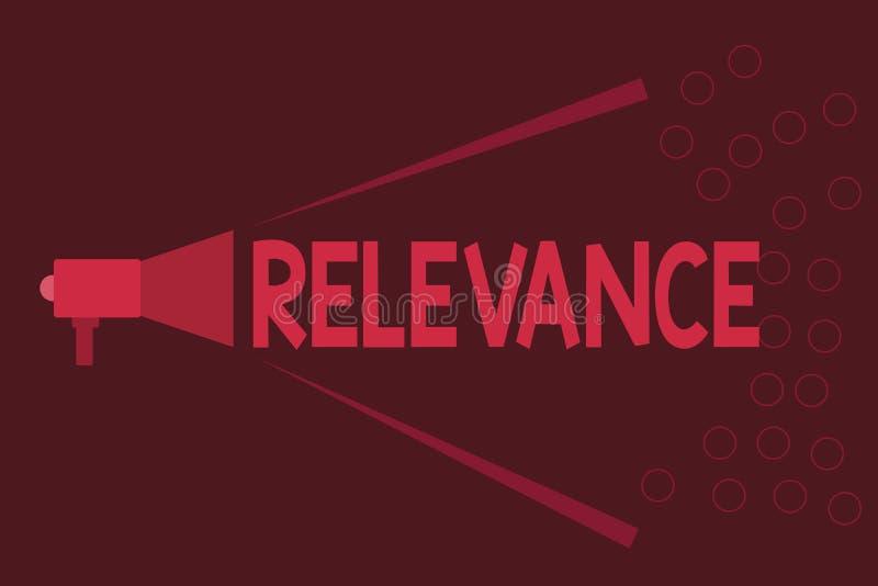 Pertinence des textes d'écriture de Word Concept d'affaires pour être l'information importante appropriée étroitement reliée illustration de vecteur