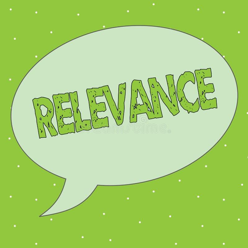 Pertinence des textes d'écriture Signification de concept étant l'information importante appropriée étroitement reliée illustration stock