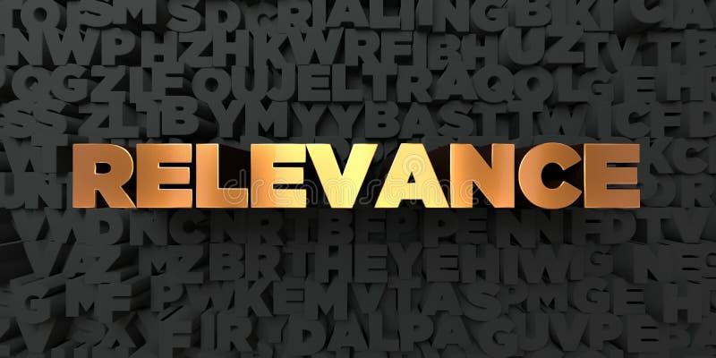 Pertinence - texte d'or sur le fond noir - photo courante gratuite de redevance rendue par 3D illustration libre de droits