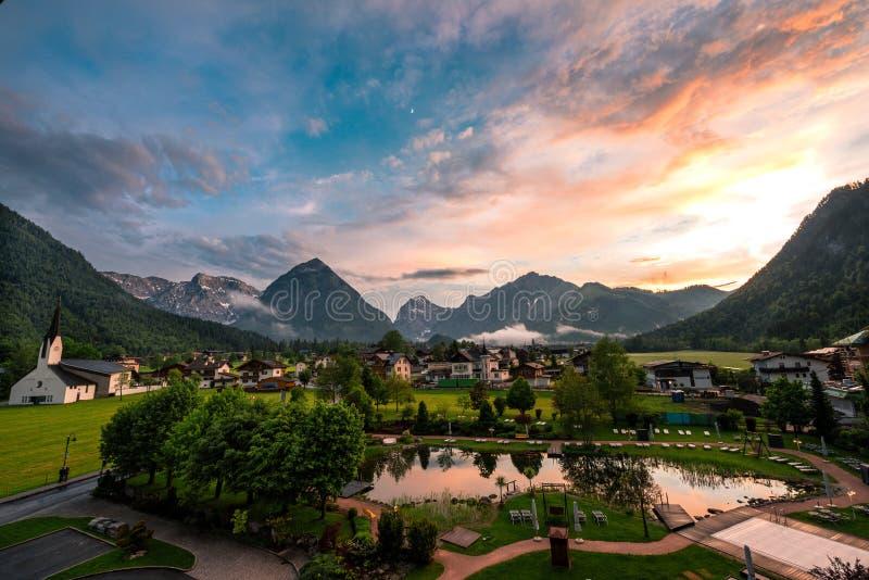 Pertisau village at the Alps in Tyrol, Austria stock photo