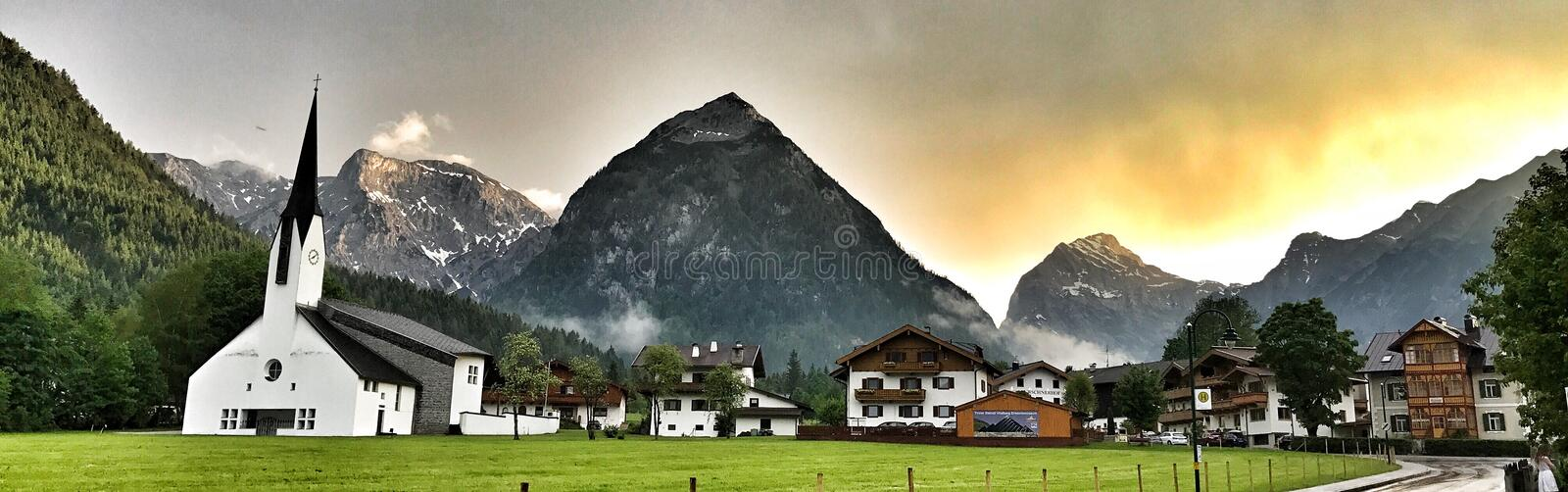 Pertisau village at the Alps in Tyrol, Austria royalty free stock image