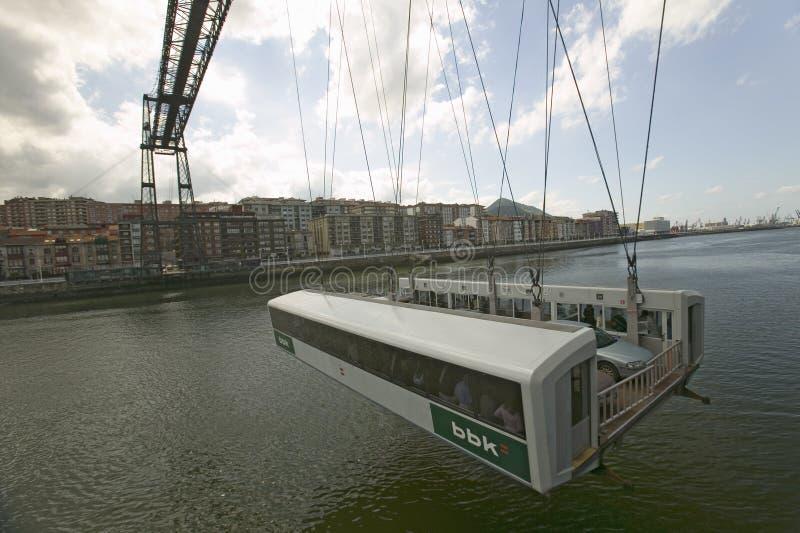 Perto de Bilbao, do Puente Colgante de Bizcaia, suspensão de Biscaia ou ponte do transportador, Portugalete de conexão na margem  imagens de stock royalty free