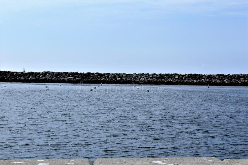 Perto do oceano de Portifino Califórnia em Redondo Beach, Califórnia, Estados Unidos fotos de stock royalty free