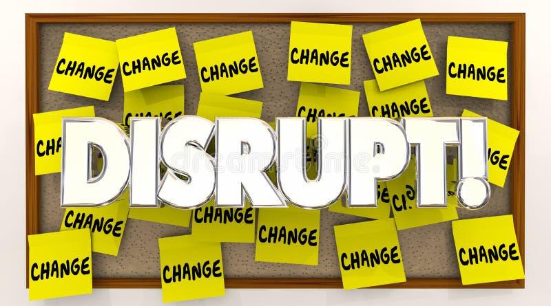 Perturbez les notes collantes de changement que Word secouent le statu quo illustration de vecteur