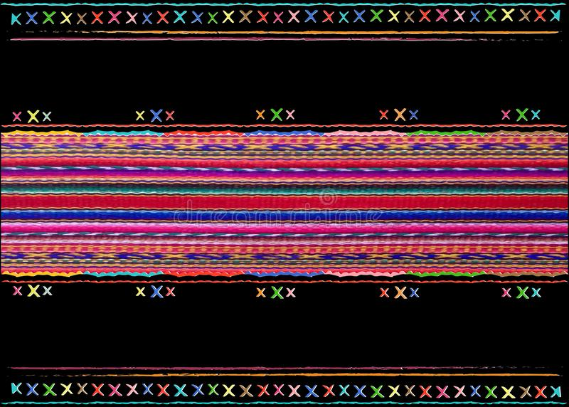 Multicolor tribal Navajo vector seamless stripes pattern. aztec fancy abstract geometric art print. ethnic Peruvian carpet stock illustration
