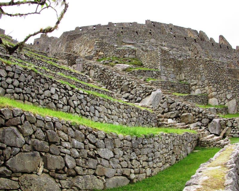 Peru antigo de Machu Picchu das paredes imagens de stock royalty free