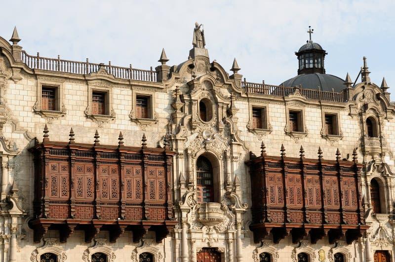 Peru, Arzobispal-Paleis in de hoofdstad Peru - Lima royalty-vrije stock fotografie