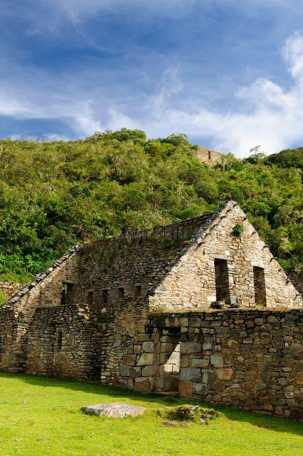 Peru, daleki spektakularny inka ruiny Choquequirao obraz royalty free
