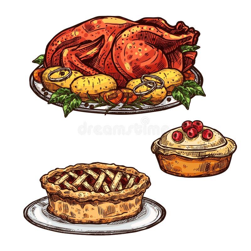 Peru do dia da ação de graças, alimento do esboço do jantar da torta ilustração royalty free