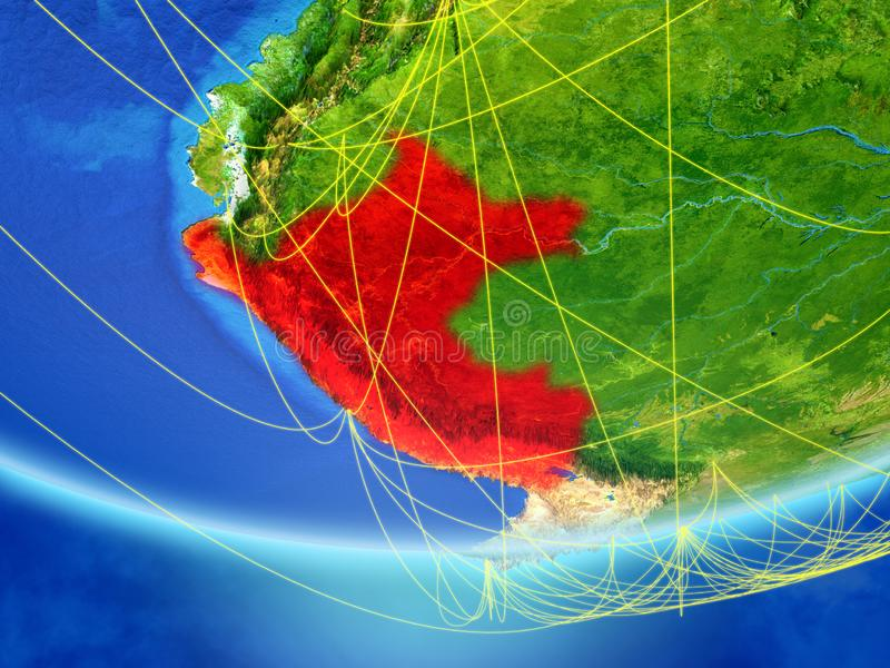 Peru on Earth with network. Peru on model of planet Earth with network representing travel and communication. 3D illustration. Elements of this image furnished stock illustration
