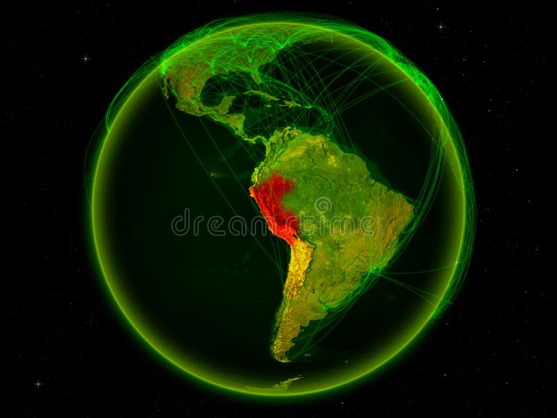 Peru on Earth with network. Peru from space on planet Earth with digital network representing international communication, technology and travel. 3D illustration vector illustration
