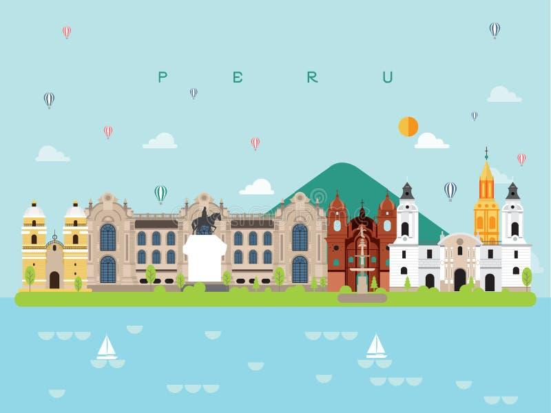 Peru Famous Landmarks Infographic Templates für das Reisen und Ikone, Symbol-Satz-Vektor vektor abbildung