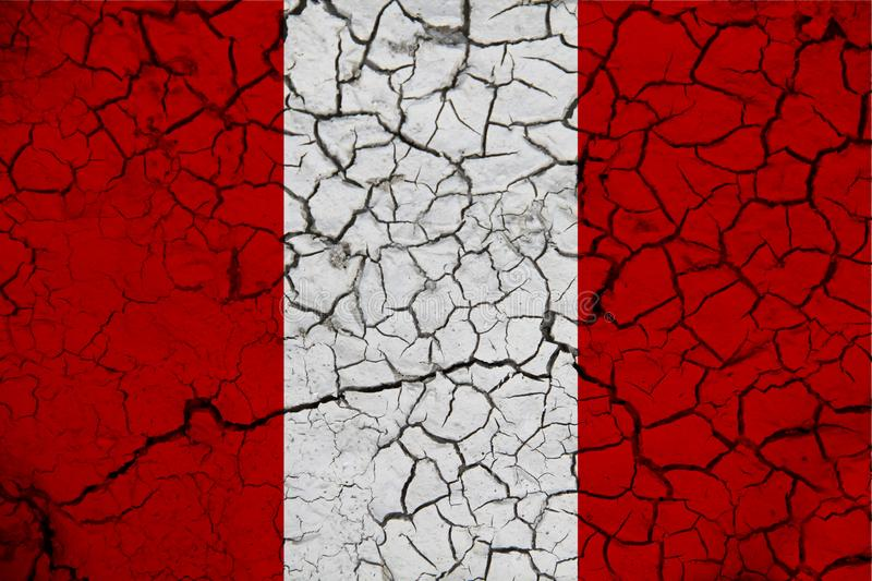 Peru flag on the background texture. Concept for designer solutions.  stock photo