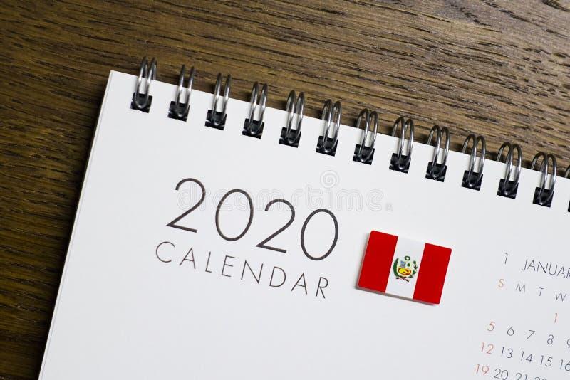Peru Flag op de Kalender van 2020 stock fotografie