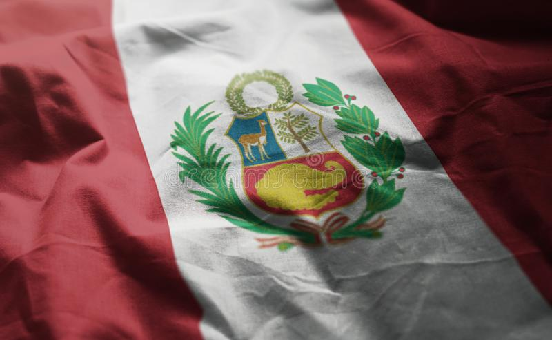 Peru Flag Rumpled Close Up foto de archivo