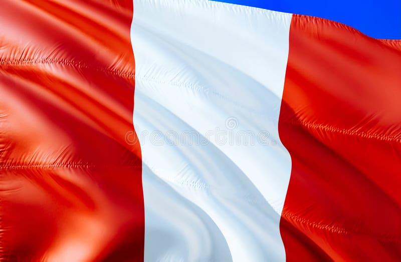 Peru Flag vinkande design för flagga 3D Det nationella symbolet av Peru, tolkning 3D Nationella färger och medborgareSydamerika f royaltyfri bild