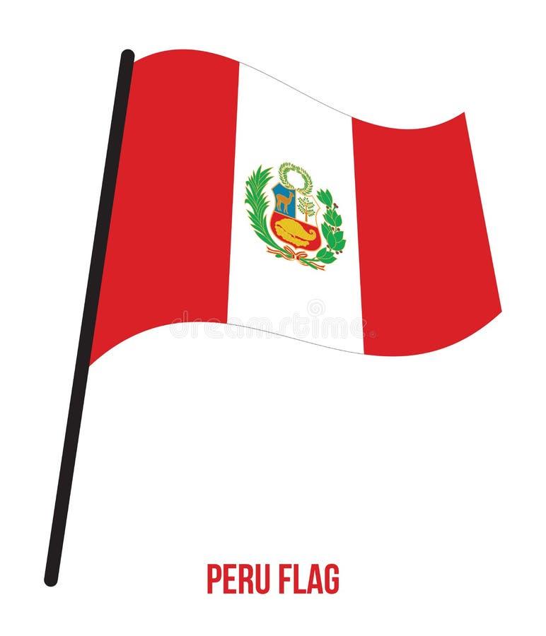 Peru Flag Waving Vector Illustration sur le fond blanc Peru National Flag illustration libre de droits