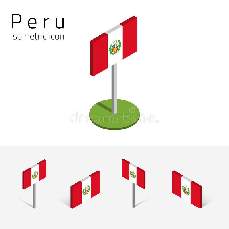Peru flagga 3D, vektoruppsättning av isometriska plana symboler royaltyfri illustrationer