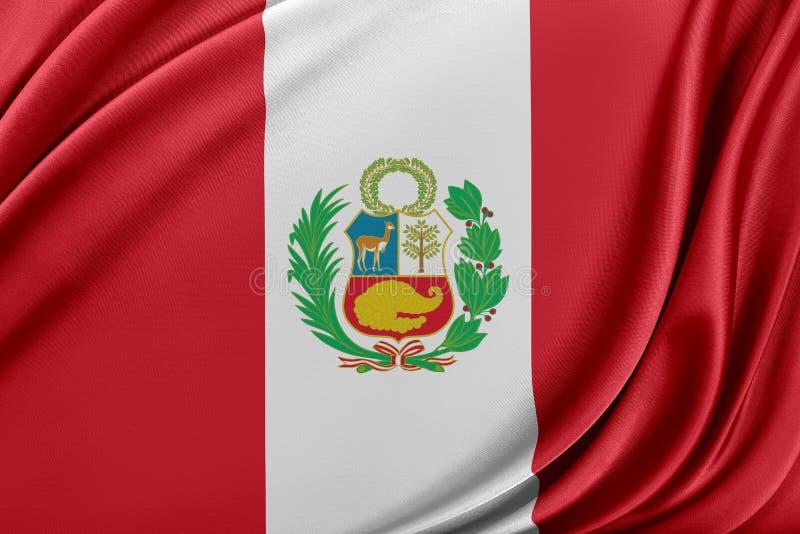 Peru flagga med en glansig siden- textur royaltyfri illustrationer