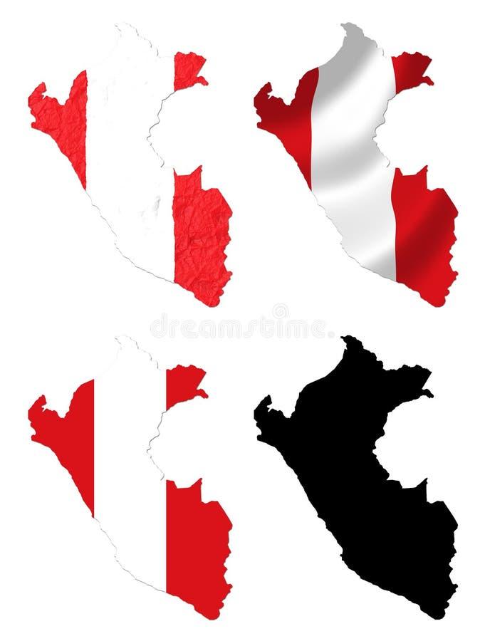 Peru-Flagge über Kartencollage stock abbildung