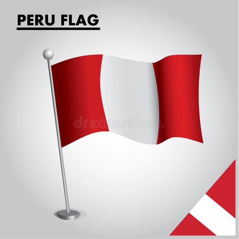 PERU-Flagge Staatsflagge von PERU auf einem Pfosten lizenzfreie abbildung
