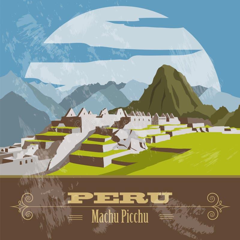 Peru gränsmärken Retro utformad bild stock illustrationer