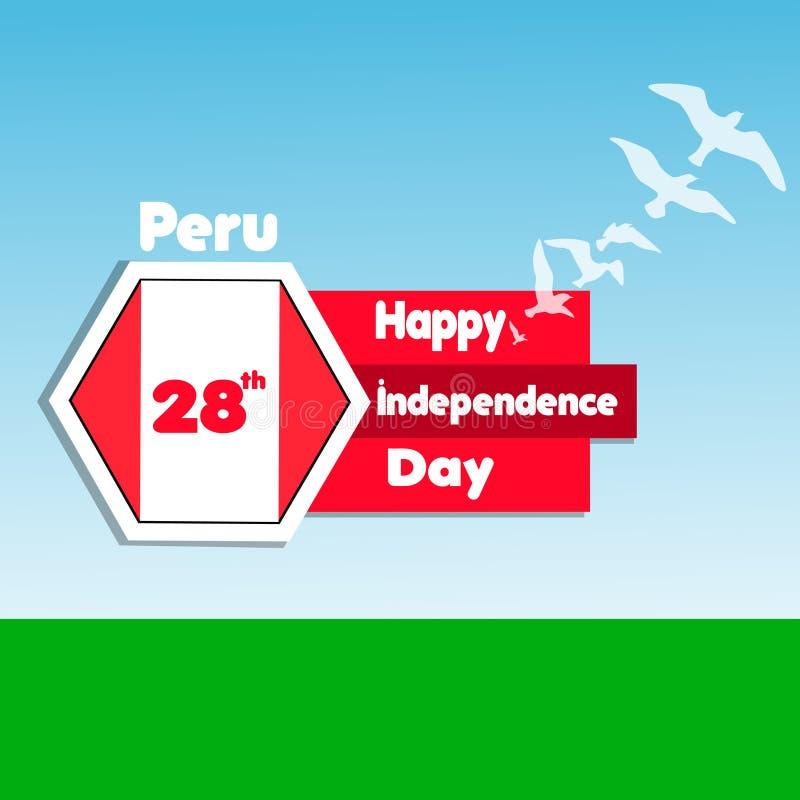 Peru Happy Independence Day Berömbakgrund med flaggor, fåglar, fältet och text vektor illustrationer