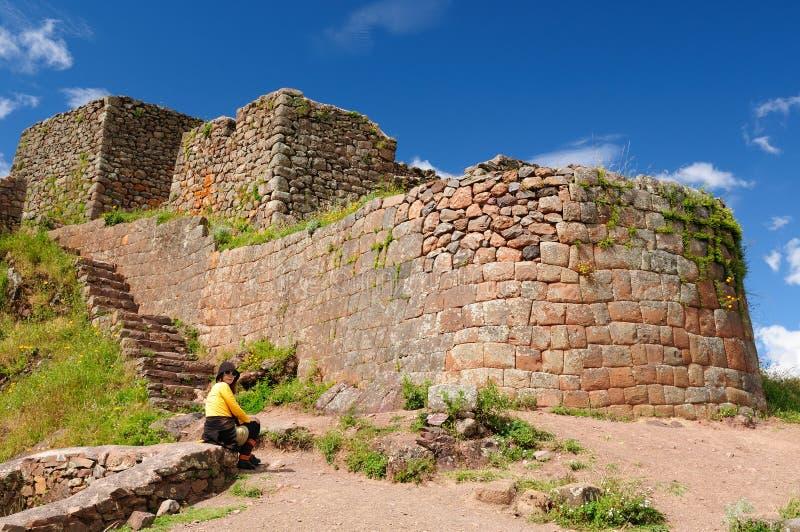 Peru, Heilige Vallei, de ruïnes van Pisaq Inca stock foto's