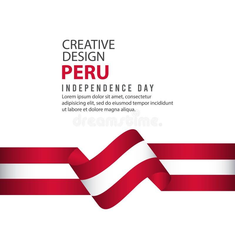 Peru Independent Day Poster Creative-het Vectormalplaatje van de Ontwerpillustratie vector illustratie