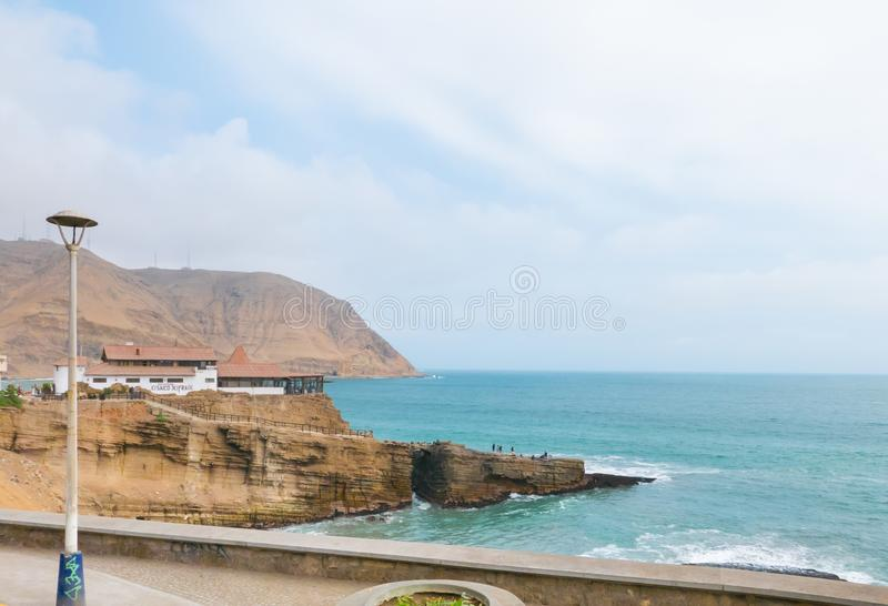 Cliff of the friar jump Lima Peru royalty free stock images