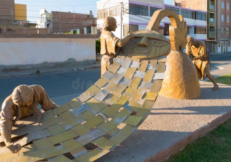 Goldsmith ceramist and weavers Moche sculpture Peru stock photography