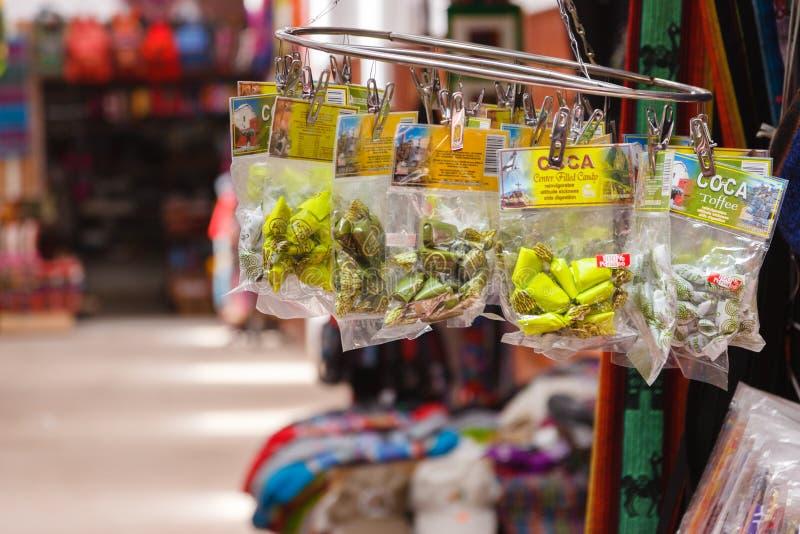 Peru koki cukierek, cukierki czerpał od koka liści dla sprzedaży obraz royalty free