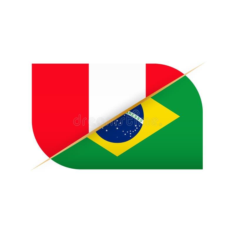 Peru kontra Brasilien, symbol för två vektorflaggor för sportkonkurrens vektor illustrationer