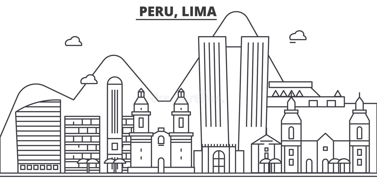Peru, Lima architecture line skyline illustration. Linear vector cityscape with famous landmarks, city sights, design. Icons. Editable strokes royalty free illustration