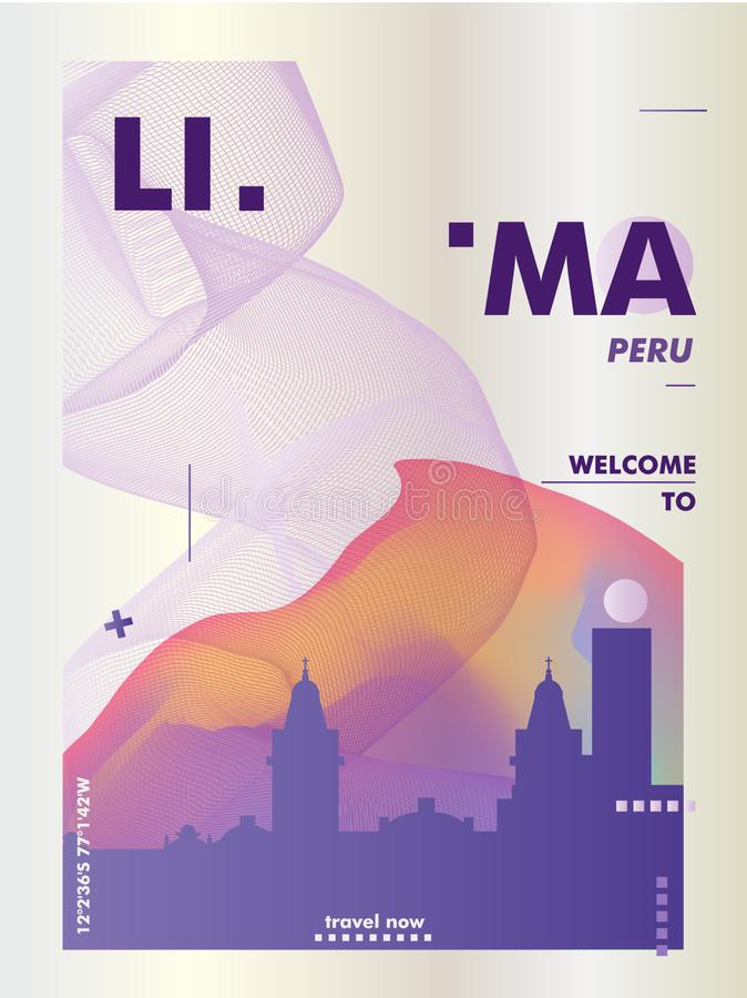Peru linia horyzontu Lima miasta gradientowy wektorowy plakat ilustracji